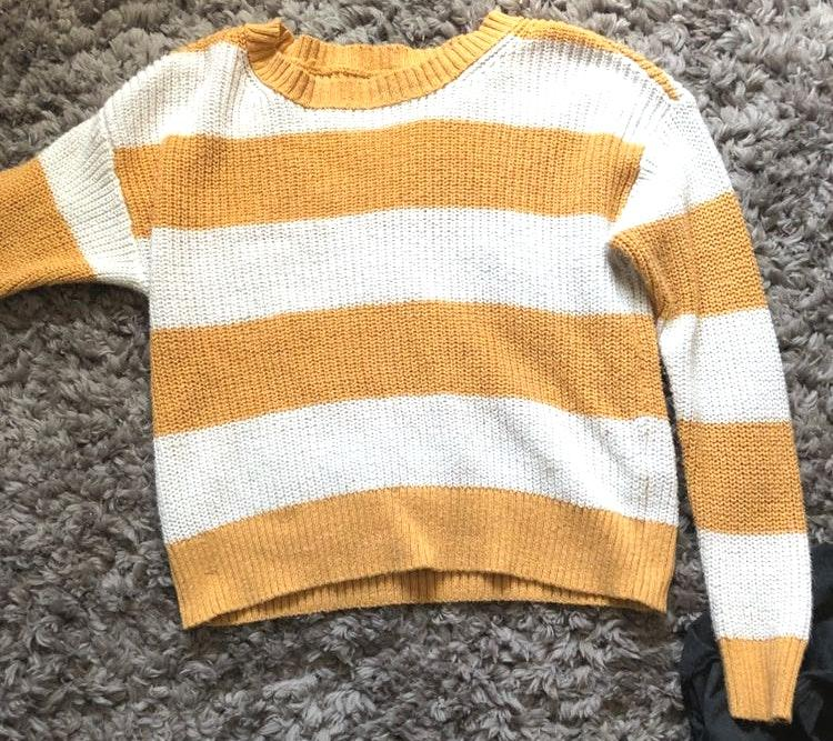American Eagle Outfitters Yellow And White Striped Sweater