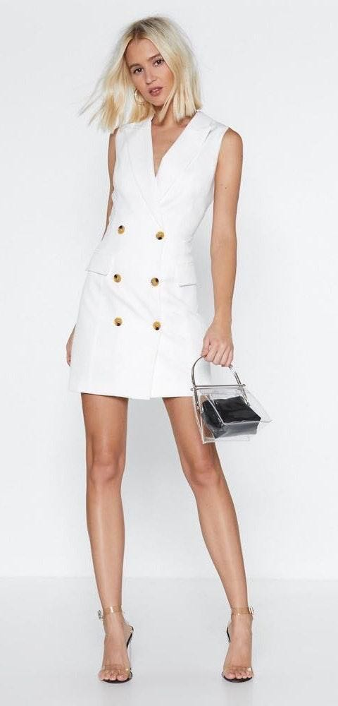 Nasty Gal White/Ivory Suit Blazer Dress