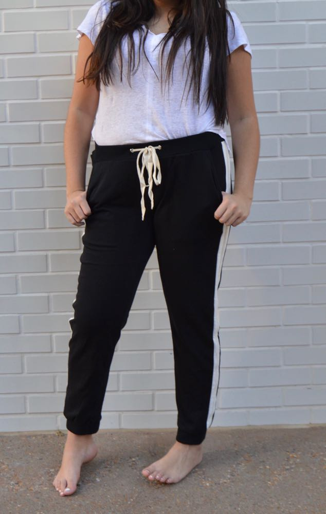 Wild Honey Velvet Side Stripe Joggers