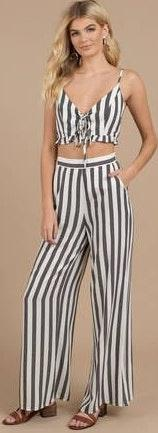 Tobi Striped Two Piece Jumpsuit Set