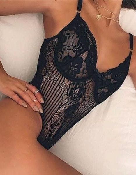 Black Lace / Mesh Thong Bodysuit