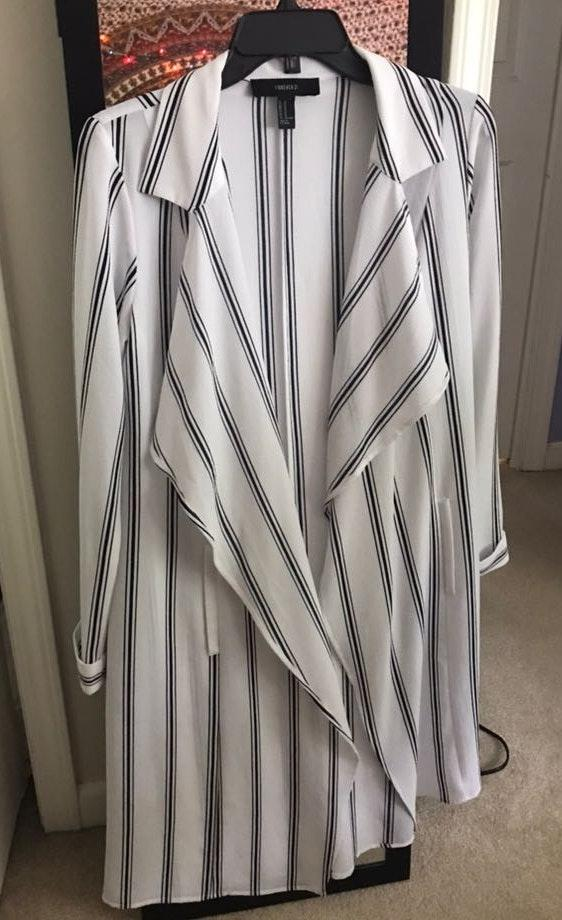 Forever 21 Black And White Striped Duster