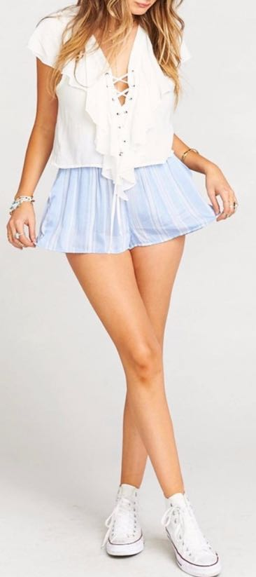 Show Me Your Mumu Blue Striped Shorts High Waisted Smocked