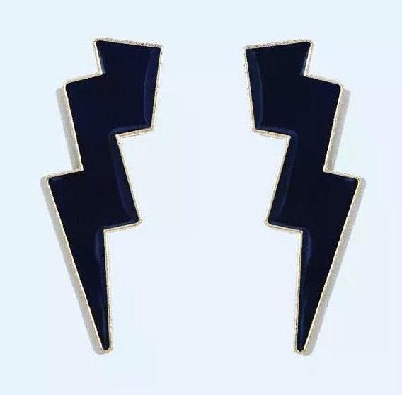 CLASSIC BLACK lighting bolt earrings