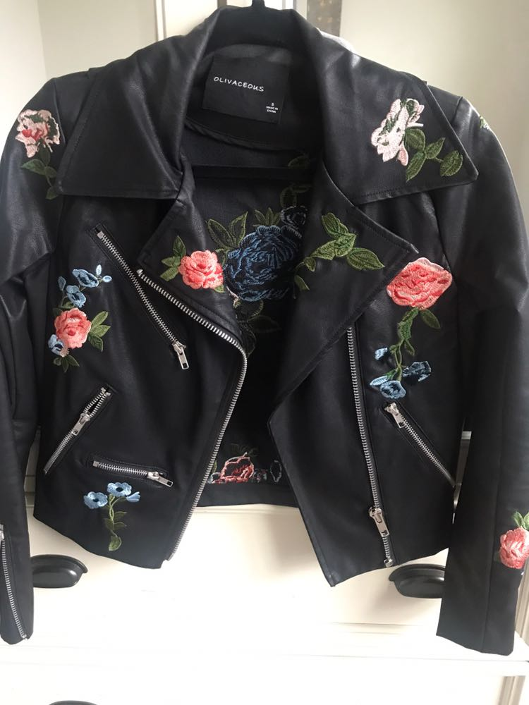Olivaceous Faux Leather Jacket-Floral Patches