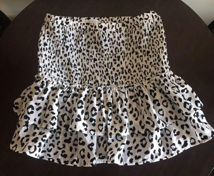 Vestique White Cheetah Skirt