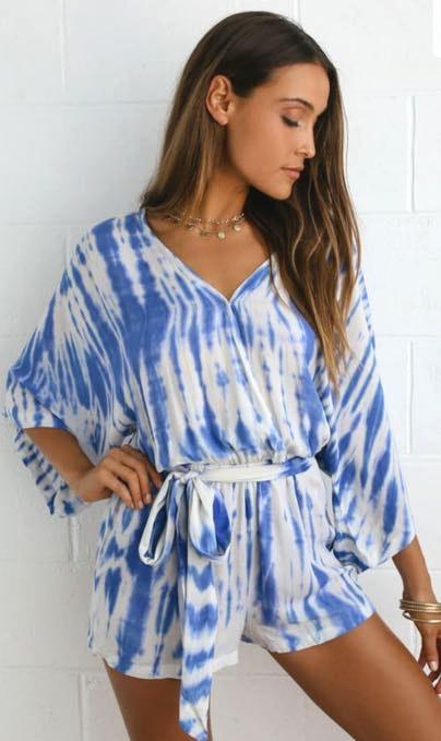 Lulus Blue And White Tie Dye Romper