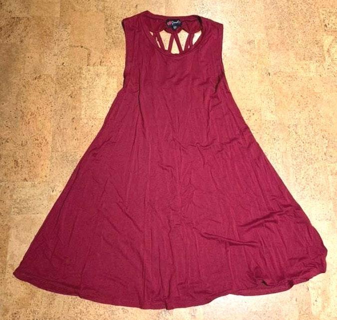 9eea5f7233b6 TJ Maxx Red Sleeveless T Shirt Dress With Rope Back | Curtsy