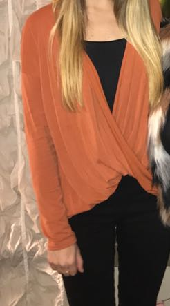 Abercrombie & Fitch Orange Scoop Neck Long Sleeve Top