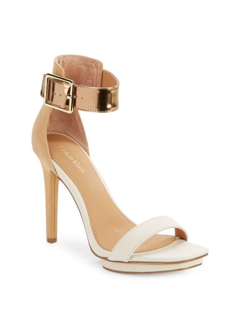 Calvin Klein Tan Heels W/ Bronze Strap