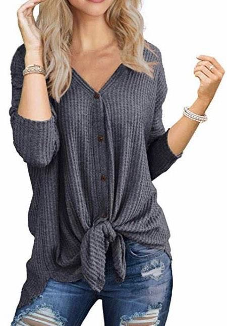 Amazon Waffle Knit Tunic Blouse Tie Knot Henley Top