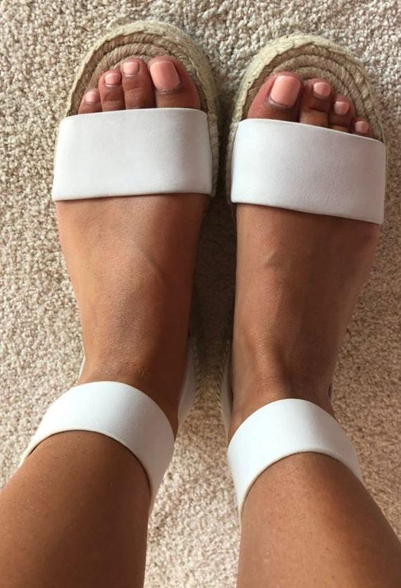 Splendid Espadrille White Leather Sandals