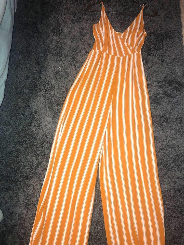 Forever 21 Striped Mustard Jumpsuit