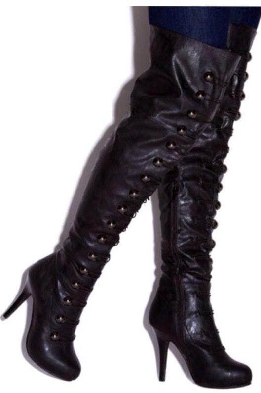 Shoedazzle Black Thigh High Boot