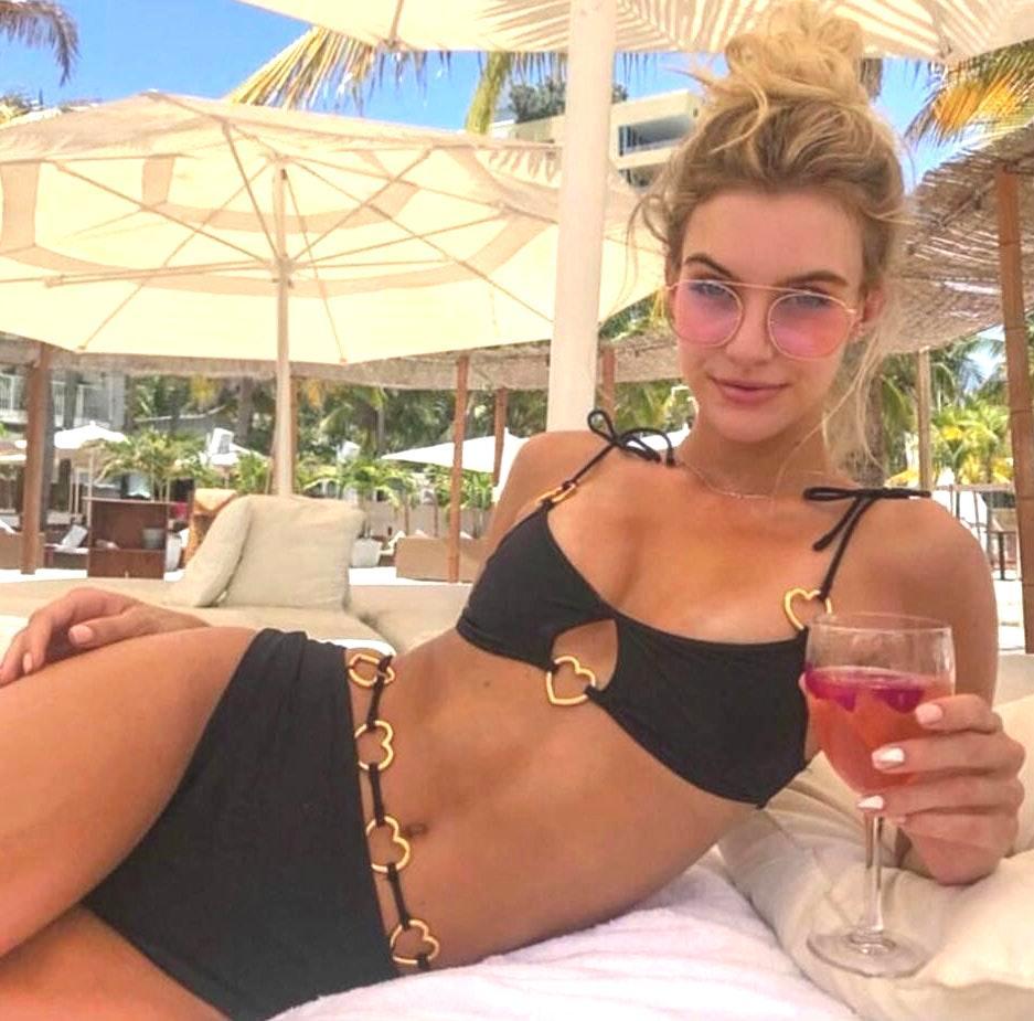 Black Padded Heart Strappy Bikini