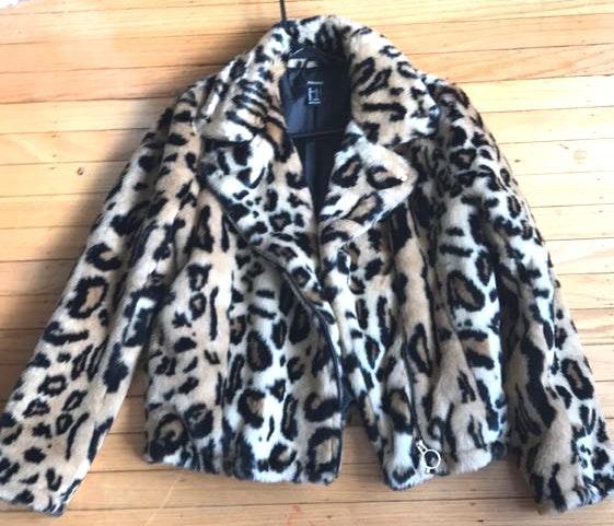 Forever 21 Cheetah Moto Jacket Fur