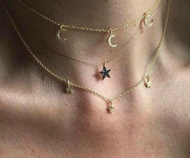 Gold Moon & Star Boho Choker Necklace