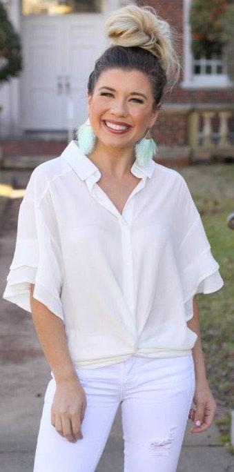 Umgee White Ruffle Sleeve Blouse (NWOT)