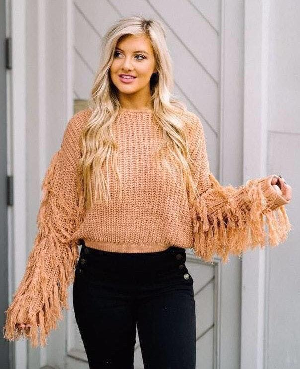 mauve fringe sweater