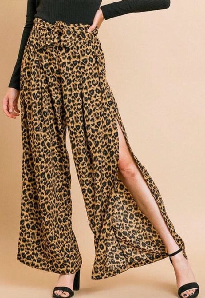 Umgee High Waisted Wide Leg Leopard Animal Print Slit Pants