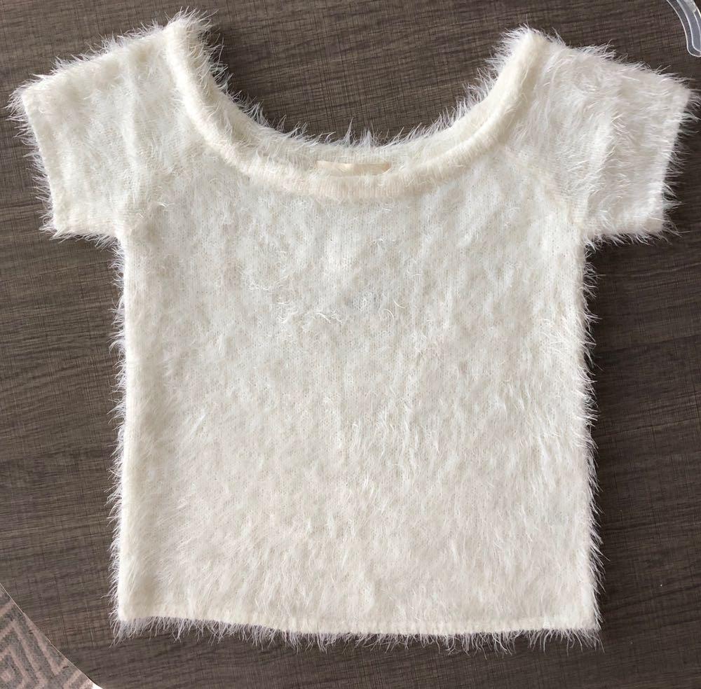 Victoria and Sophia White Fuzzy Crop Shirt