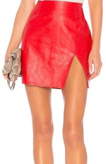 superdown Red Faux Leather Skirt