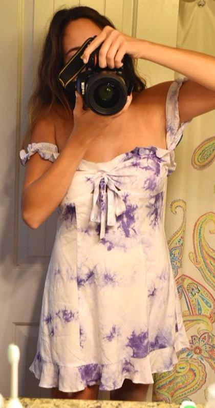 Wild Honey Tie dye white dress
