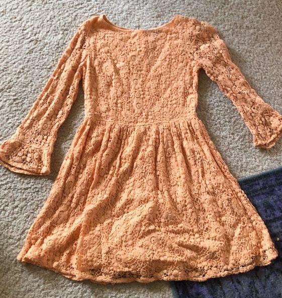 Topshop Peach Vintage Style Lace Dress