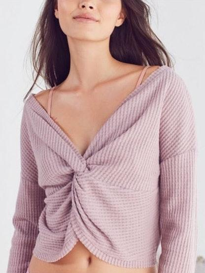 Urban Outfitters Rust Olivia Knot Crop Top