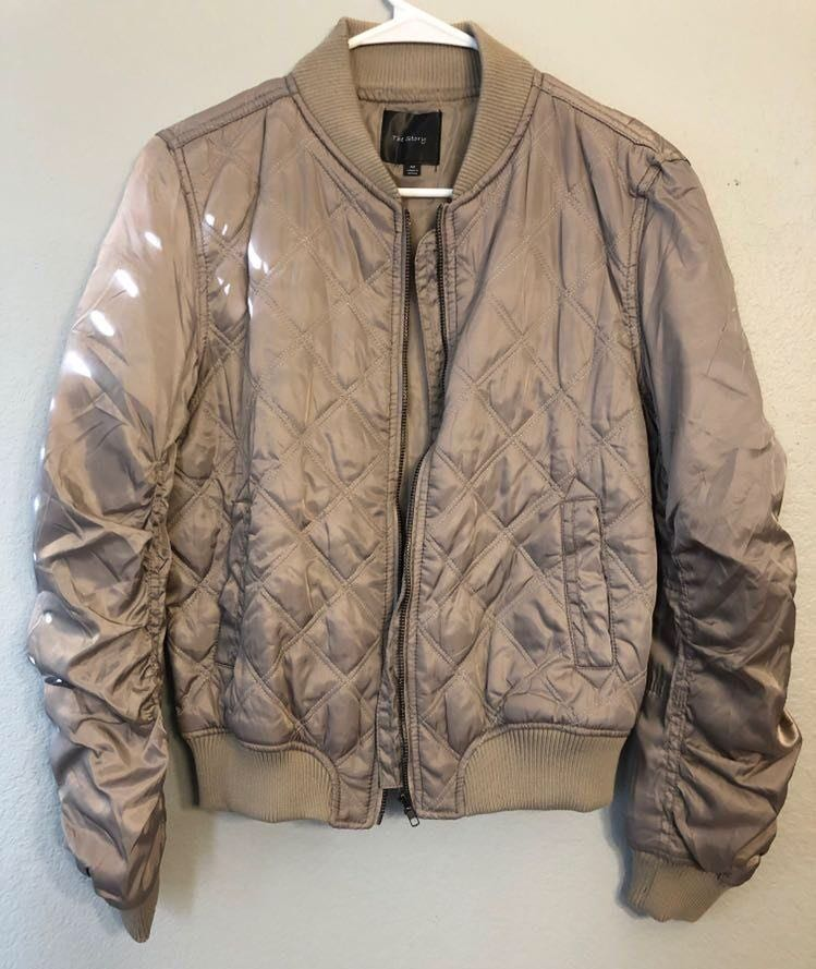 The Story Tan Puffy Bomber Jacket