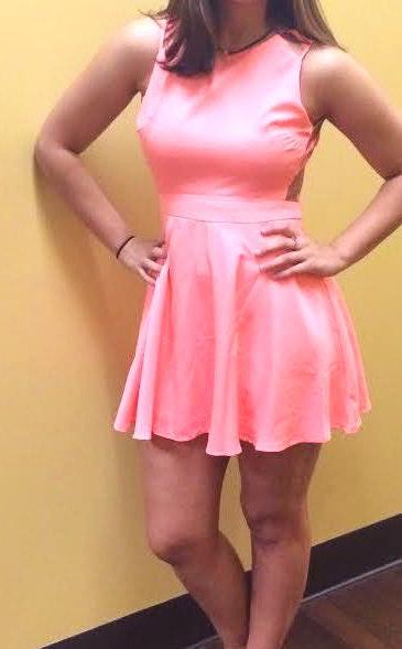 Xenia Salmon Strappy Flare Dress