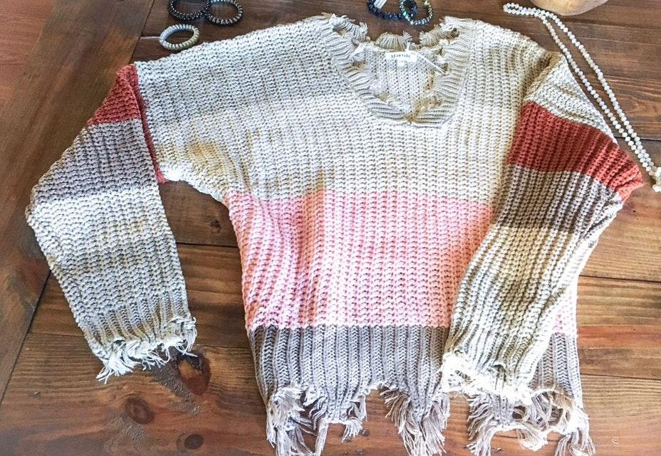 Blackeyed Suzies Striped Fringed Sweater