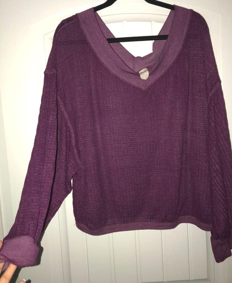 Free People Soft Purple Long Sleeve Shirt