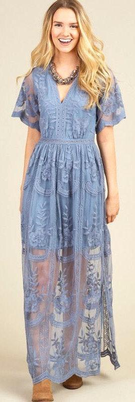 06705b558ff Altar'd State Dusty Blue Maxi Dress | Curtsy