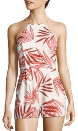 Finders Keepers Red and White Sail Away Palm Print Romper