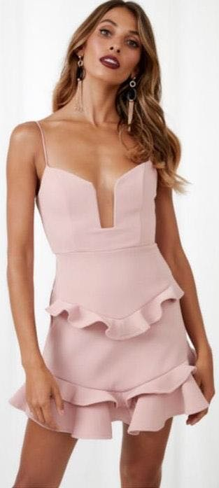 Hello Molly Pink Ruffle Dress