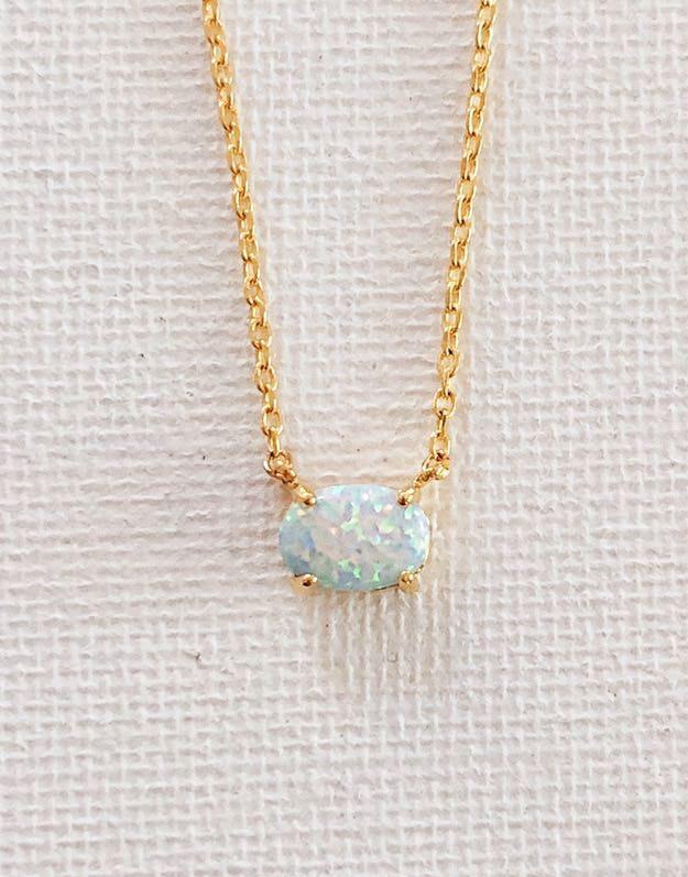Gold Opal Dainty Necklace