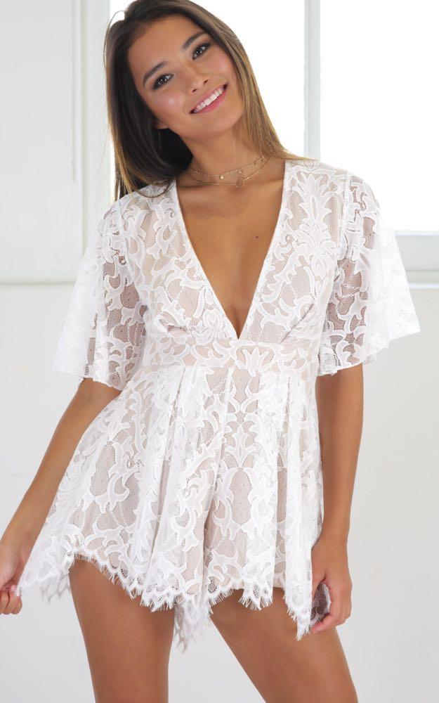 Showpo White Lace Playsuit