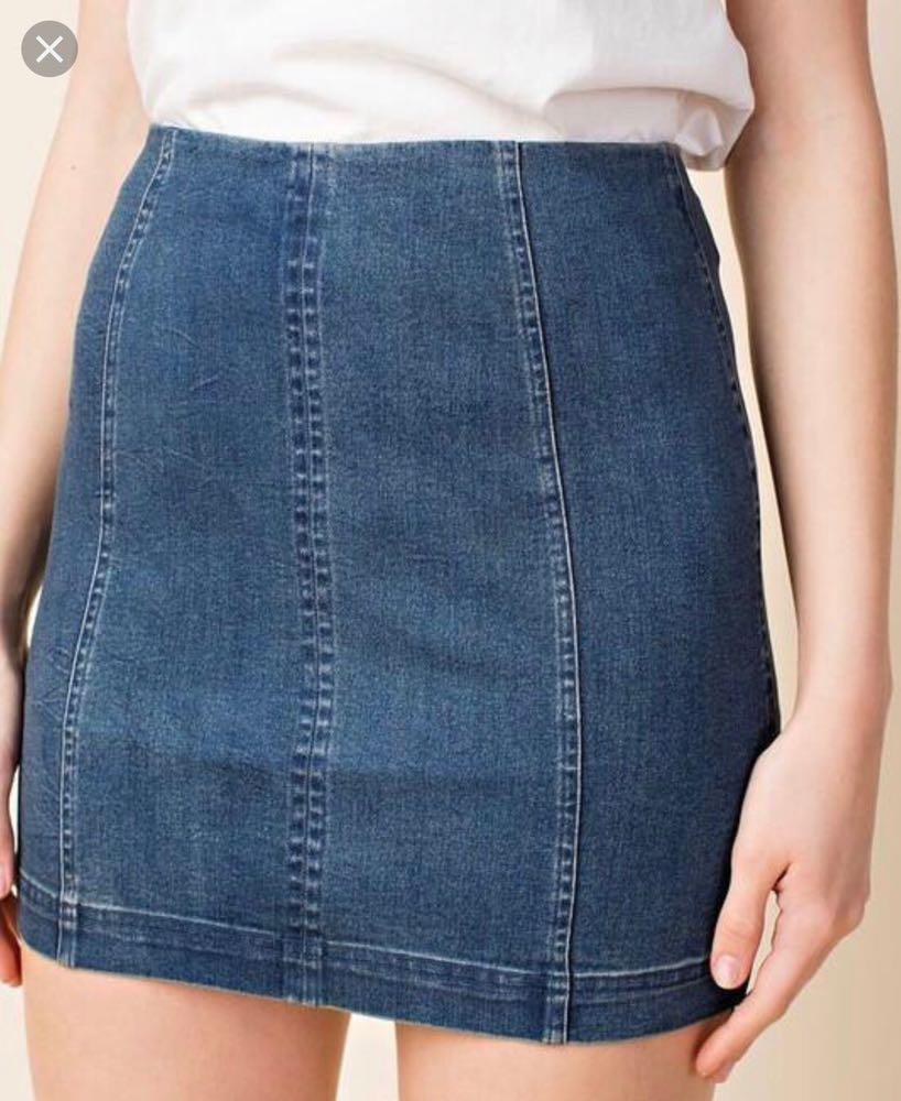 Wild Honey Denim Skirt With Back Zipper