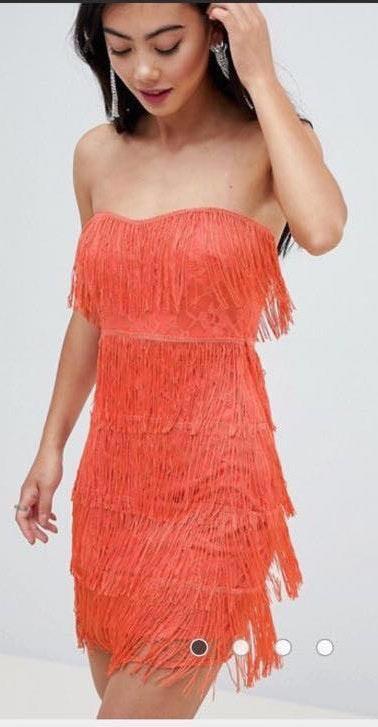 ASOS Orange strapless fringe dress