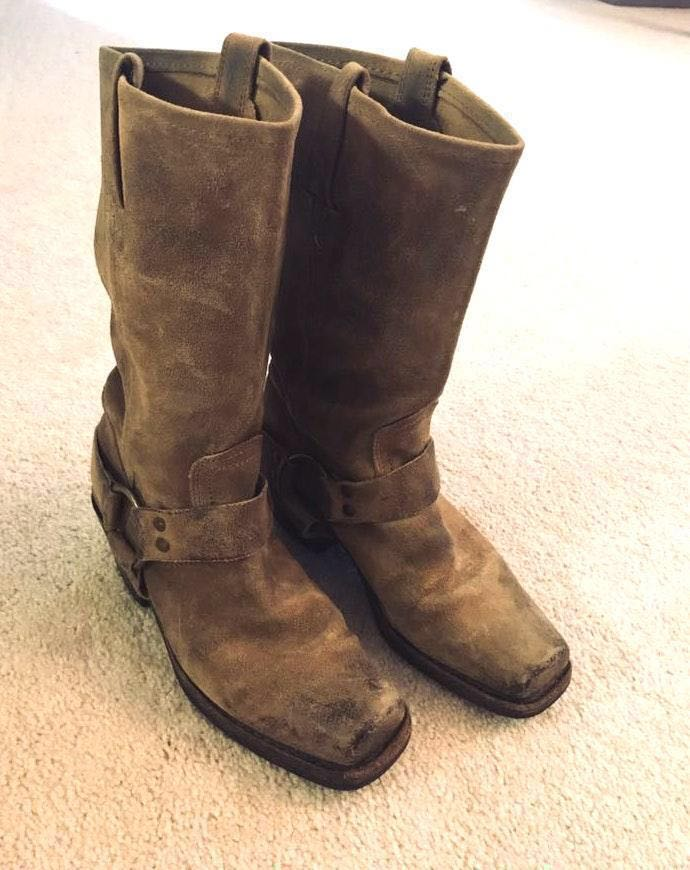 Frye Harness 12.0 Taupe Suede Boots