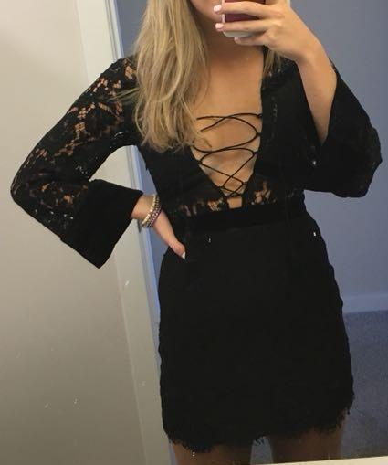 DO+BE Lace Up Mini Dress
