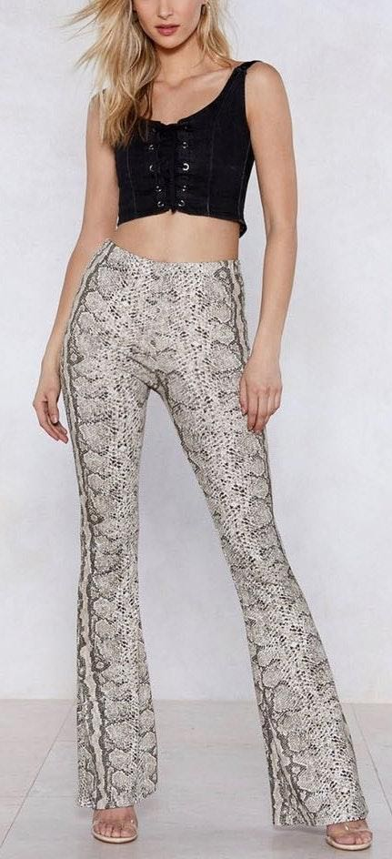 Nasty Gal Snakeskin Print Flare Pants