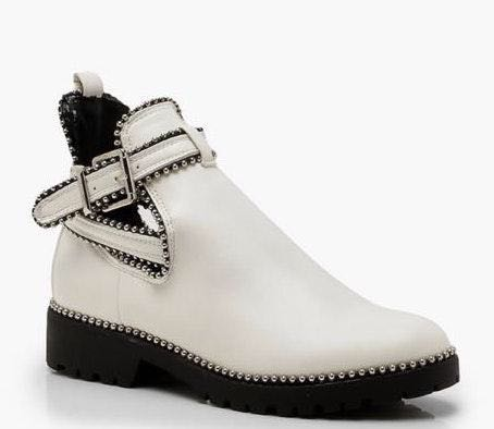 Boohoo White Leather Booties