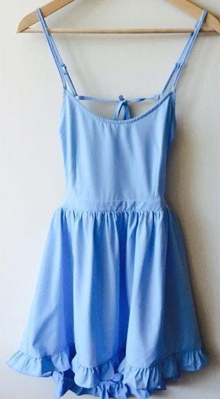 Tobi Light Blue Backless Recruitment Dress