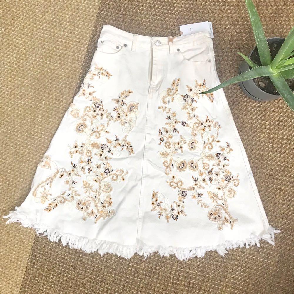 Zara White Denim Beaded Midi Skirt