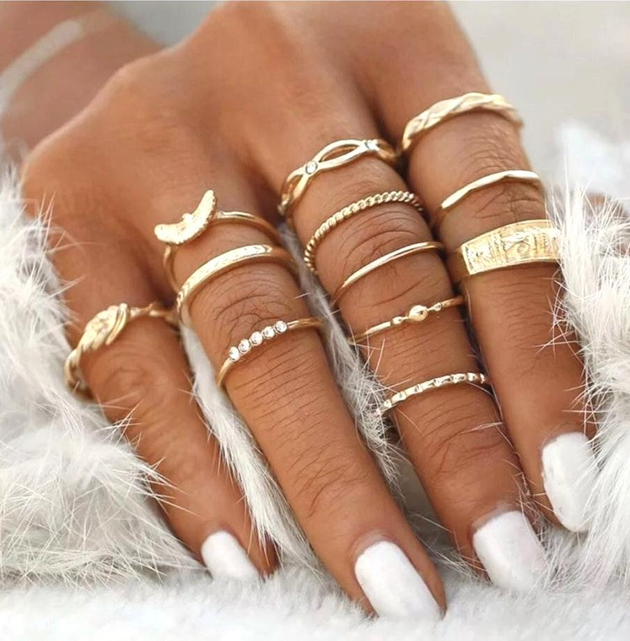 12Pc Midi Knuckle Finger Gold Stack Rings