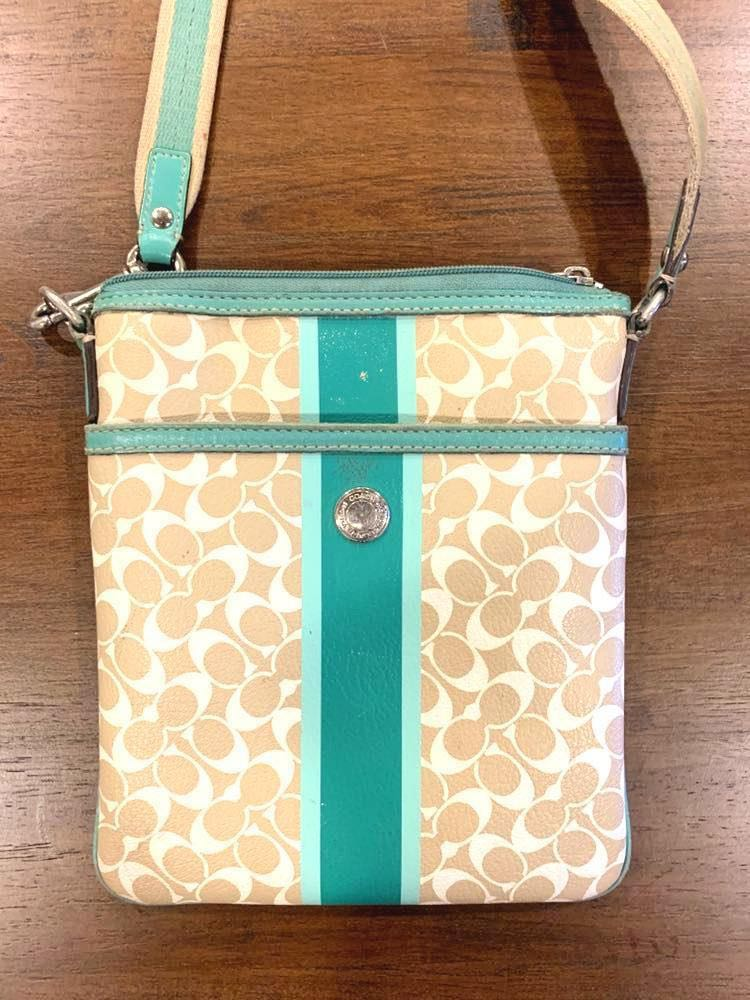 Coach Green & Tan Crossbody