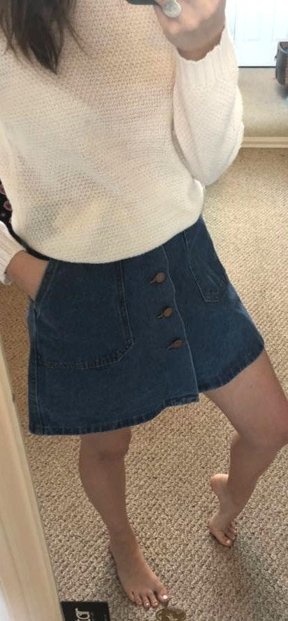 Amazon jean button down skirt