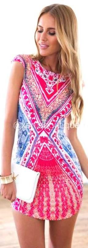 Xenia Patterned Bodycon Dress